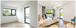 Home Staging Eingerichtetes Zimmer mit Bett und Stuhl