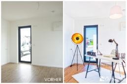 Home Staging Eingerichtetes Büro mit Schreibtisch, Stuhl und Lampe