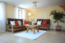 Home Staging Eingerichtetes Zimmer mit Sitzmöbel, Gardinen und Teppich