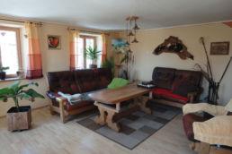 Raum mit Sitzmöbeln, Pflanze, Teppich