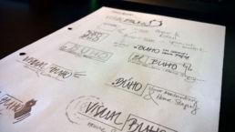 Gründen VISUAL BUHO Logos Papier Skizze