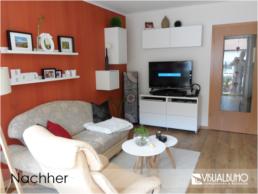Einrichtungsberatung Wohnzimmer mit roter Wand
