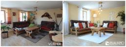 Home Staging Wohnzimmer rote Kissen