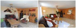 Aufbereitetes Wohnzimmer Wand Orange