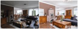 Home Staging Wohnzimmer mit Kamin aufbereitet