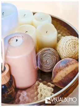 Kerzenschale mit Kerzen Home Staging