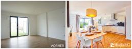 Home Staging Wohn- und Essbereich aufbereitet