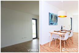 Home Staging Esstisch mit Stühle und Bild