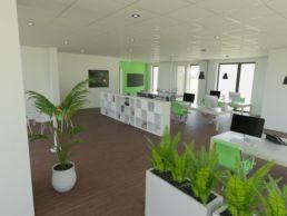 Visualisierung Office Pflanzen grün und weiß