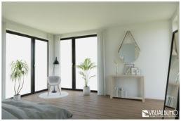3D Home Staging Schlafzimmer Spiegel Pflanzen