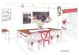 Küche Skizze Raumkonzept Einrichtungsberatung