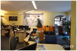 Reisebüro Arbeitsplätze alt Renovierung