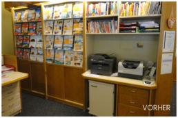 Reisebüro Regal Prospekte alt Renovierung