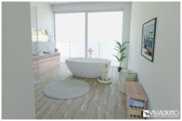 3D Home Staging Freistehende Badewanne Penthouse