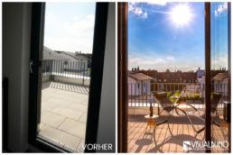 Home Staging Terrasse Liege Wein Sonne