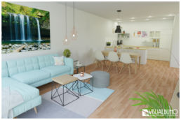 3D Home Staging Wohnen Kochen Skandinavisch