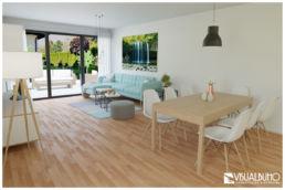3D Home Staging Wohnzimmer Terrasse Skandinavisch