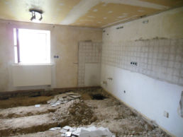 Küche Baustelle Boden Umbau