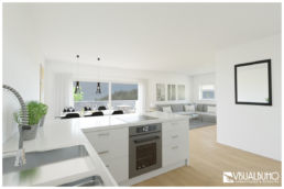 3D Home Staging Küche Wohnzimmer