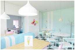3D Home Staging Eisdiele Sitzbereich