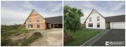 Fotomontage Außenbereich Einfamilienhaus
