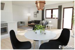 3D Home Staging Wohnen Essbereich Kupfer grau