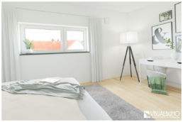 3D Home Staging schlafzimmer skandinavisch black and white