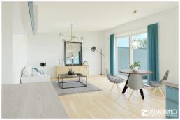 3D Home Staging Wohnen modern Türkis