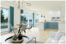 3D Home Staging wohnbereich modern türkis