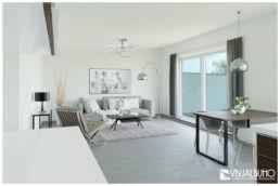 3D Home Staging wohnbereich modern grau
