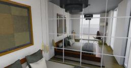 Visualisierung Schlafzimmer mit Spigelschrank gerendert