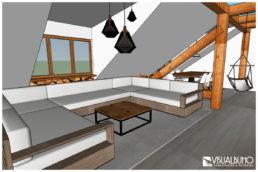 Wohnzimmer Ferienwohnung Visualisierung ungerendert
