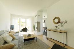 Industrial Wohnzimmer mit Kamin 3D Home Staging