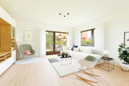 Wohnzimmer mit Schaukelstuhl 3D Home Staging