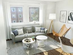 3D Home Staging Wohnzimmer mit grauem Sofa und Teppich