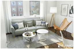 Wohnzimmer blaue Farbakzente 3D Home Staging