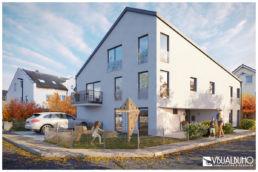 Mehrfamilienhaus Gersthofen Architekturvisualisierung Eingang
