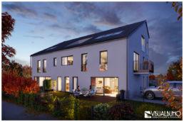 Mehrfamilienhaus Gersthofen Architekturvisualisierung Abend
