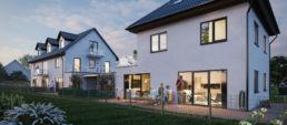 Außenvisualisierung eines Münchner Einfamilienhauses bei Nacht
