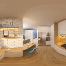 360 Bild moderne Küche